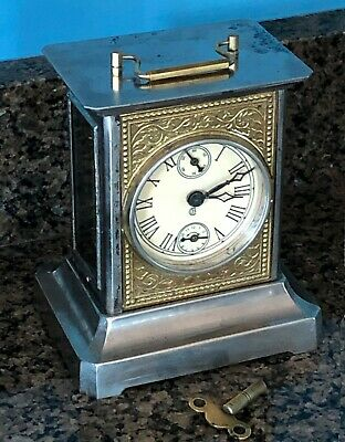Antique German Badische Uhrenfabrik Musical Joker Clock Running Condition