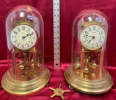 2 Lot Vintage KUNDO Anniversary German Clock *Brass Movement *Glass Domes*Key  7
