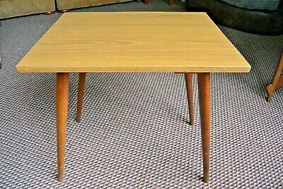 Great Retro Mid-century table with wooden dansette legs and formica top