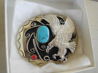 BELT BUCKLE EAGLE 1-TURQUOISE 1-CORAL SOUTHWEST T-20 MADE IN USA VINTAGE khl