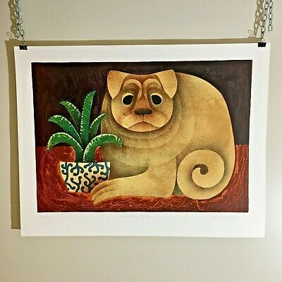 """Carol Jablonsky """"Chinese Dog"""" Lithograph Print Edition of 300 Signed Embossed"""