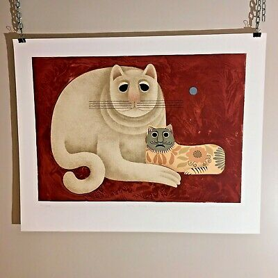 """Carol Jablonsky """"Two Cats"""" Lithograph Print Edition of 300 Signed Embossed"""