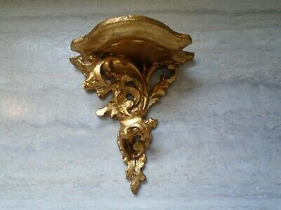Vintage Italy Italian Gold Ornate Wall Sconce Shelf Tole