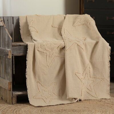 "Burlap Vintage Star Farmhouse Primitive Woven Throw 60"" x 50"" VHC Brands"