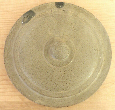 Antique 19th C STONEWARE REDWARE Clay Button Knob POTTERY #2 STEPPED Crock Lid