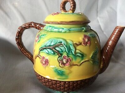 Antique Majolica  Teapot and lidded pot believed to be Japanesque style