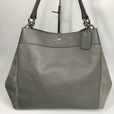 COACH *Lexy* Heather Grey Mixed Leather & Suede Shoulder Tote Bag *RRP $545*