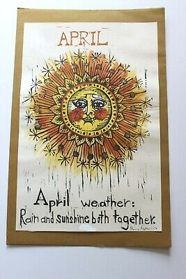 Mary Azarian Vintage Woodcut Print April Spring Signed Date 1970 Vermont Artist