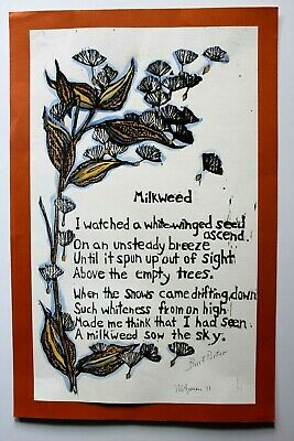 Mary Azarian Vintage Woodcut Print MILKWEED Signed Dated 1971 Vermont Artist