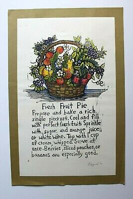 Mary Azarian Vintage Woodcut Print FRUIT PIE Signed Dated 1971 Vermont Artist