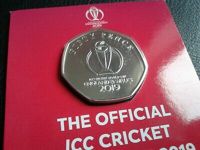 Isle of Man 2019 ICC Cricket World Cup 50p Coin Brilliant Uncirculated - Carded