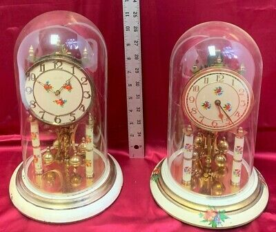 2 Lot Vintage KUNDO Anniversary German Clock *Brass Movement *Glass Dome *Key 11