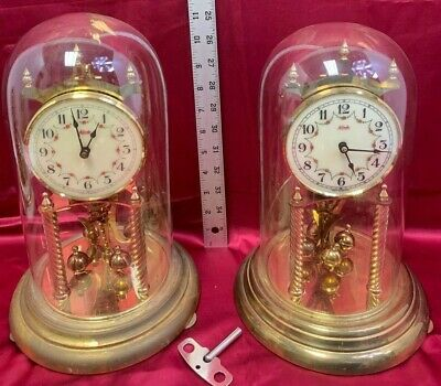 2 Lot Vintage KUNDO Anniversary German Clock *Brass Movement *Glass Dome *Key 12
