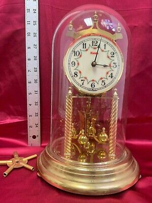 Vintage KUNDO Anniversary German Mantel Clock *Brass Movement *Glass Dome*Key 14
