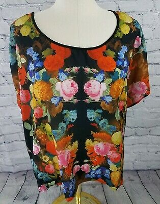 Torrid Sheer Floral Front Top Blouse Size 3 High Low Hem Light & Breezy
