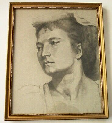 Antique Vintage Drawing of a Woman Framed