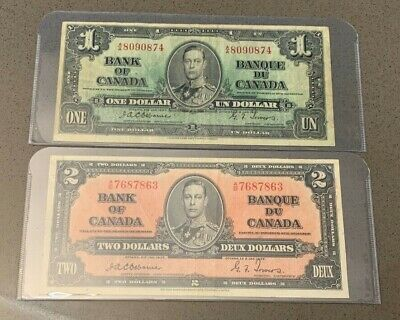 EXTREMELY RARE OSBORNE!!! 1937 Bank of Canada, $1.00 & $2.00 in F-VF