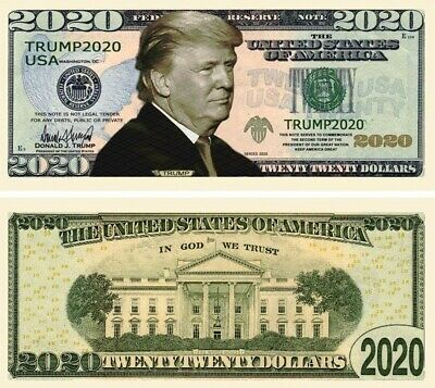 Lot of 25 Re-Elect Trump in 2020 Dollar Bill Play Funny Money Novelty Notes