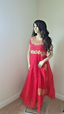 FULLY Stitched Designer Bollywood gown dress ethnic indian Anarkali in Red