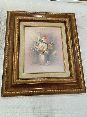 """Vintage Framed Panel Oil Painting Signed Russo """"Flower Bouquet"""" 17"""" X 15 1/2"""""""