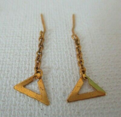 Vintage Mod Barbie: #3406 Evening In ~ Gold Dangle Triangle Earrings