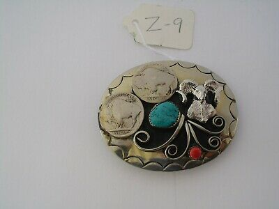 Belt Buckle Ram 2 Nickles 1-Turquoise 1-Coral Small Southwest Nos Vintage Z-9