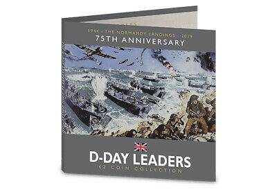 2019 ISLE OF MAN 75th ANNIVERSARY D-DAY LEADERS £2 COIN SET - BUNC COIN HUNT