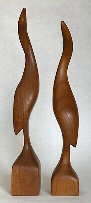 2 Mid-Century Modern Carved Wood Bird Sculptures Signed Marked Lykins