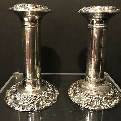 Antique Pair Sterling Silver English Hallmark Dwarf Dressing Table Candlesticks