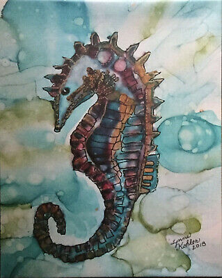 "Printed Canvas 16x20"" Seahorse frames gallery wrapped by Lynne Kohler"