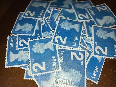 100 x UNFRANKED 2nd CLASS LARGE BLUE STAMPS OFF PAPER (NO GUM) See Description