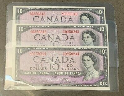 3 Consecutive 1954 Bank of Canada $10's, all notes are Unc or better!!!