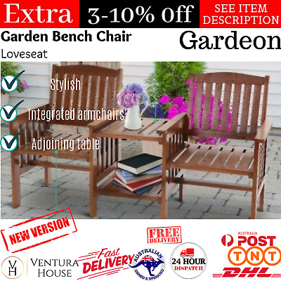 Outdoor Two Seater Jack & Jill Garden Chair Table Loveseat Patio Wooden Bench AU