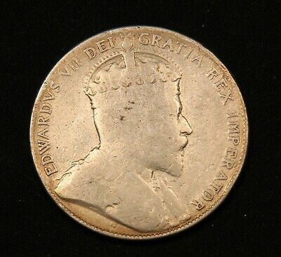 1907 Canada Silver 50 Cents King Edward VII Sterling Silver vintage coin