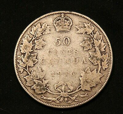 1916 Canada Silver 50 Cents King George V coin