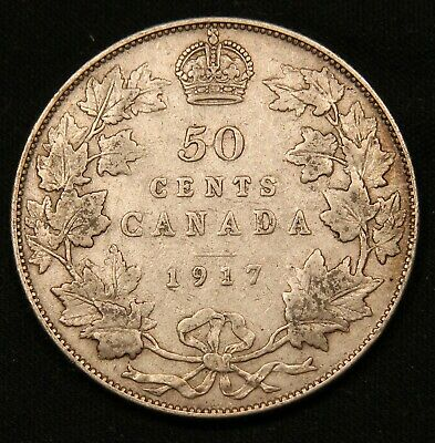 1917 Canada Silver 50 Cents Great Condition King George V coin