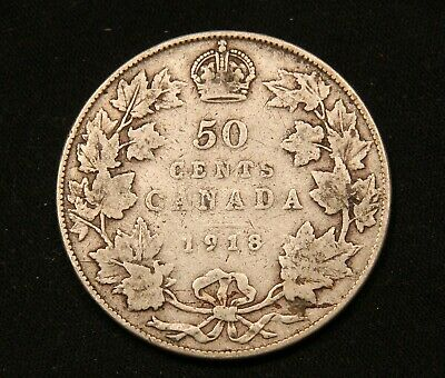 1918 Canada Silver 50 Cents King George V coin