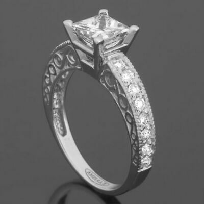 Diamond Princess Shape Ring Ornate Special Occasion 18 Kt White Gold 2.03 Ct