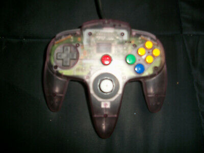 Nintendo 64 N64 Clear Atomic Purple Controller Authentic Tight Stick