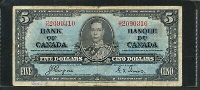 1937 Bank of Canasda $5 Five Dollars King George VI Banknote.