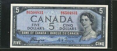 1954 Bank of Canada $5 DEVIL'S FACE Hair. Very high grade. Coyne-Towers BC-31a