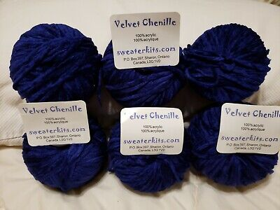 Velvet Chenille Sweaterkits . Com from Canada Made in Italy Blue Acrylic Yarn