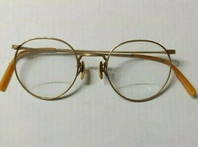 Vintage AO American Optical 1/10 12k gold filled etched bifocal eyeglasses+case
