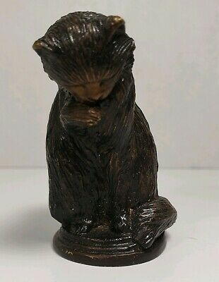 """Vintage Crafted In Taiwan Cat Kitty Cast Metal Black And Bronze Color  2"""" Figure"""