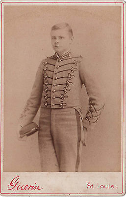 Boy in Band Uniform with Hat - Cabinet Photograph  - Fitz W Guerin St. Louis MO