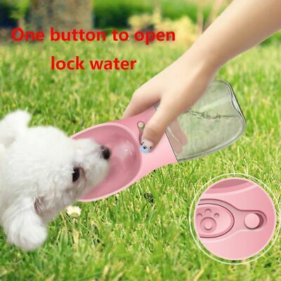 Portable Pet Water Bottle Dispenser For Dogs Cat Puppy Travel Feeder Tray Bowl