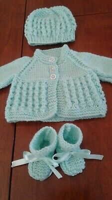 Hand Knitted Dolls Cardigan, Hat And Booties Set- Baby Born Or Similar - New