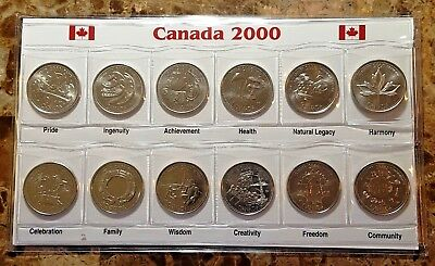 Canada 2000 Millennium Designs  BU UNC Commemorative 12 Coin Set!!