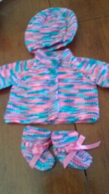 Hand Knitted Dolls Cardigan. Hat And Booties Set- Baby Born Or Similar - New