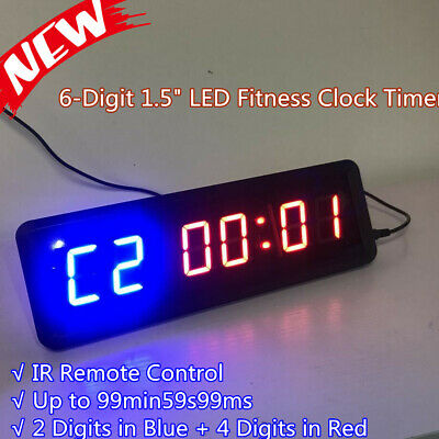 LED 6-Digit Dimmable Programmable Interval Timer Wall Crossfit Gym w/ Remote